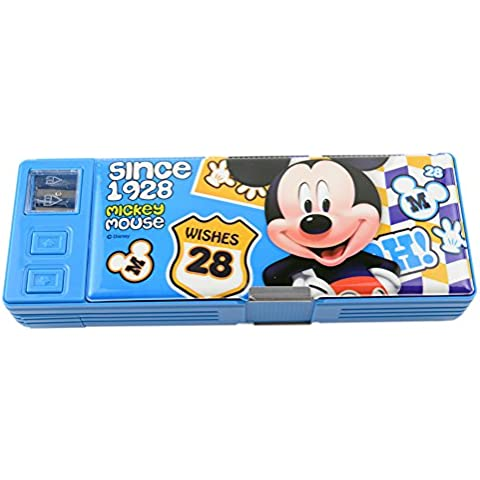 Disney Multi-capa de la caja de lápiz multifuncional de plástico caja de lápiz 83014-05 (Azul