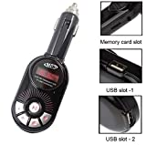 REALMAX� Fm Transmitter Car Radio Aux USB Jack MP3 Player Wireless with LCD Display Dual USB Charging Slots Port SD TF Card 3.5mm Aux Music Remote for All Android Smart-Phones iPhone iPad iPod and All Devices 3.5mm Audio Jack Headphones Socket (Red)