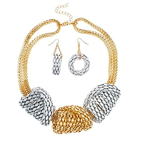 Lux Accessories Mesh Metal Chunky Statement Necklace Matching Earrings