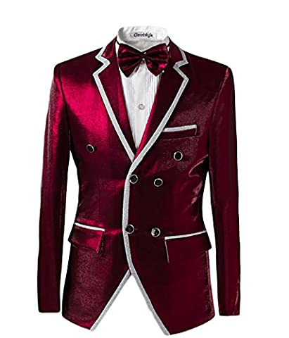 Mens Burgundy 2 Piece Tuxedo Suit Double Breasted Wedding Jackets & Trousers