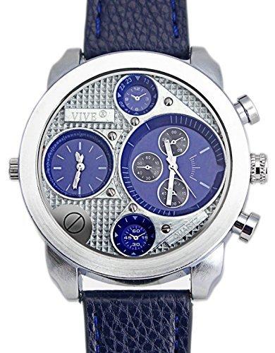 Banger Dualtime Blau Blue Line Chronograph for Men Double Temps Zwei Zonen Navigator Herrenuhr XL Atlas Modell mit 2 Uhrwerken Weltzeituhr Schwarz Silber mit Lederarmband...