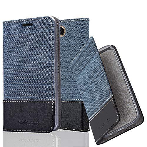Cadorabo Hülle für LG X Power 2 - Hülle in DUNKEL BLAU SCHWARZ - Handyhülle mit Standfunktion und Kartenfach im Stoff Design - Case Cover Schutzhülle Etui Tasche Book - 2 X Stoff