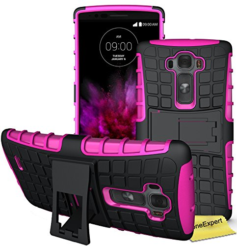 LG G Flex 2 Handy Tasche, FoneExpert® Hülle Abdeckung Cover schutzhülle Tough Strong Rugged Shock Proof Heavy Duty Case für LG G Flex 2 + Displayschutzfolie (Rosa) (Lg Cover Flex 2)