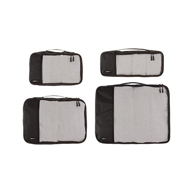 AmazonBasics Lot de 4 sacoches de rangement pour bagage Tailles S/M/L/Slim, Noir