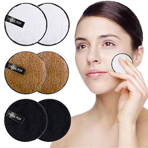 Almohadillas Desmaquillantes, BUDDYGO 6 Piezas Discos Desmaquillantes Microfibra en Bolsa de Almacenar, Lavable y Reutilizable, Makeup Remover Pads, Para la limpieza facial y desmaquillante