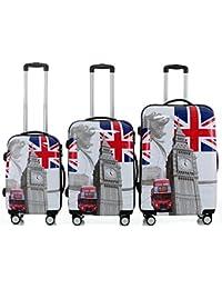 Carcasa rígida de policarbonato 2060 Trolley Maleta conjunto de equipaje de viaje Beuty caso de 3 o conjunto de 4 en 12 diseños, - Britisch Bus(3er Set), Definir