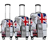 Polycarbonat Hartschale Koffer 2060 Trolley Reisekoffer Reisekofferset Beutycase 3er oder 4er Set in 7 Motiven (Britisch Bus(3er Set))
