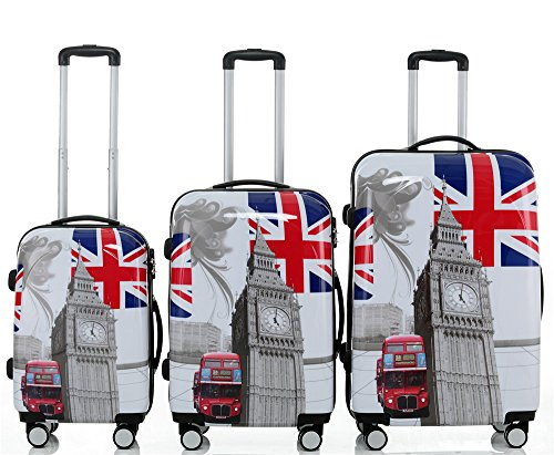 Set valigie rigide tipo trolley in policarbonato, 3 misure diverse o 4 (beauty-case incluso), 12 fantasie diverse, 2060, - Britisch Bus(3er Set), Set