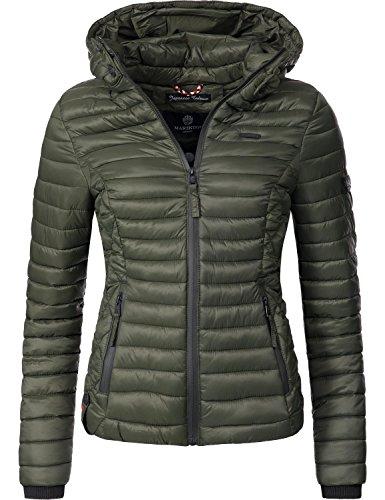 Marikoo Damen Übergangs-Jacke Jacke Steppjacke Samtpfote Olive Gr. M