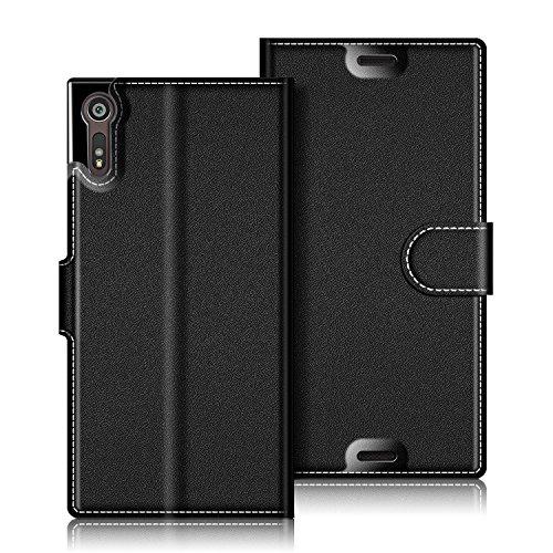 Coodio Sony Xperia XZs Hülle Leder Lederhülle Ledertasche Wallet Handyhülle Tasche Schutzhülle mit Magnetverschluss / Kartenfächer für Sony Xperia XZs und Xperia XZ, Schwarz