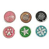 Souarts Gemischte Runde Emaile Click Button mit Strass 4.5mm Druckknöpfe Set 6 Stücke