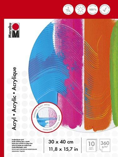 Preisvergleich Produktbild Marabu 161200013 - Malblock für Acrylmalerei, 30 x 40 cm, 360 g
