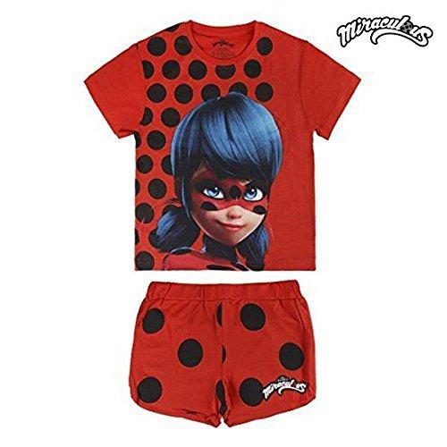 Preisvergleich Produktbild Miraculous, die Geschichten von Ladybug und Chat Noir 2200002661 Pyjama für Kinder, Baumwolle, Baumwollset 2 Stück,Rot (8 Jahre)