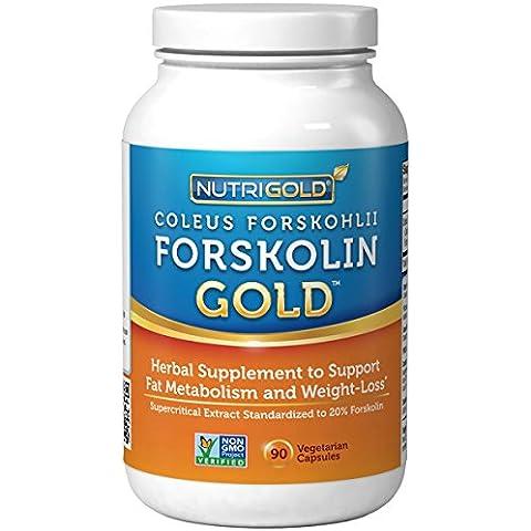 Nutrigold Forskolin Gold (Clinically-proven ForsLean), 125 mg, 90 veg. capsules