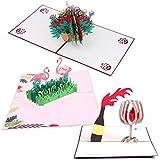 Wetrys 3pezzi Handmade 3D Pop Up Flower Summer fenicottero biglietti di compleanno creativo Mr. biglietti di auguri per tutte le occasioni