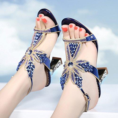 LGK & FA Sommer Damen Sandalen Strass Sandalen Sommer hochhackige Schuhe Leder Sandalen mit Rohdiamant, blau (Womens Sandale Arizona)