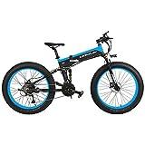 LANKELEISI T750Plus 21 vitesses 26 * 4.0 Fat Bike, vélo électrique pliant 1000W 48V 10Ah, batterie au lithium cachée, suspension complète de vélo de neige (Noir Bleu, 1000W + 1 batterie épargnée)