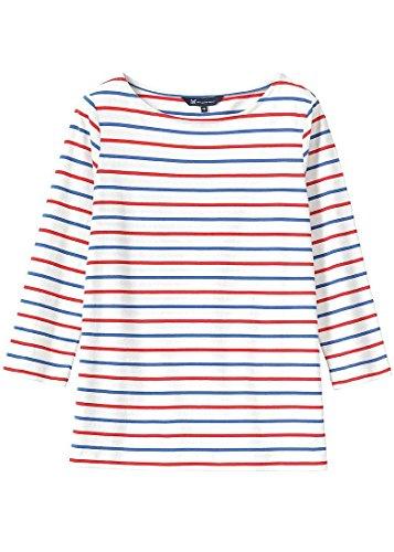 Crew Clothing Dames Breton Essentiels Haut (ES17) White/Amparo/Poppy