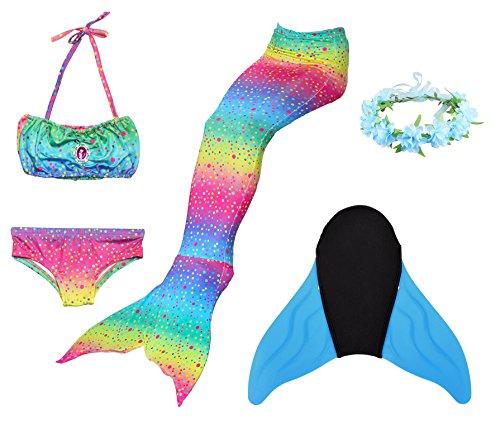 Superstar88 Mädchen Cosplay Kostüm Badebekleidung Meerjungfrau Shell Badeanzug 3pcs Bikini Sets mit einer Flosse und einer Kränze Tolle Geschenksidee ! (140, Splendid (Cosplay Kostüm Kinder Für)