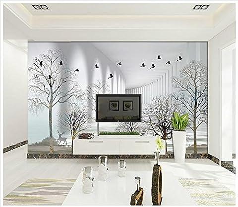 LWCX 3D Wallpaper Benutzerdefinierte Bild Schwarz Und Weiß Skizze Einfach Wald Elk Tv Hintergrund Wanddekoration 150X105CM