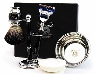 Hand Made Shaving Set for Men's Set Includes Pure Black Badger Hair Shaving Brush, 5 Edge Razor, Shaving Bowl with Soap and Brush Holder
