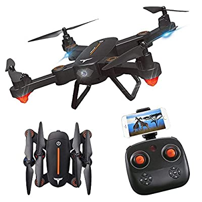 KINGBOT RC Drone, Foldable Flight Path FPV Wifi RC Quadcopter 2.4GHz 6-Axis Gyro Remote Control Drone with 2MP HD Camera Drone (Two Batteries Included)