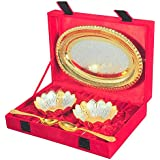 IndianCraftVilla Handmade Silver And Gold Plated Brass Bowl With Spoon Comes With Gift Pack Use For Dry Fruits, Gifting Purposes On Wedding Aniversary Diwali Christmas Occasion