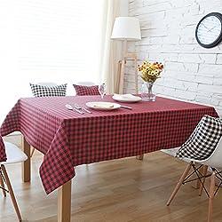 gloryhonor diseño a cuadros mantel de lino de mesa de comedor escritorio decoración de hogar muebles–rojo + negro 90* 90cm, Red+Black, 100*140cm
