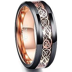Nuncad Bague unisexe en carbure de tungstène noir + or rose, gravure design Dragon celtique avec une coupe confortable polie, bague pour mariage, fiançailles, taille 54