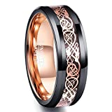 Ring Unisex Wolframcarbid schwarz + rosegold, Gravur Design Keltendrachen mit poliertem Comfort-Fit, Ring für Hochzeit, Verlobung, Größe 54