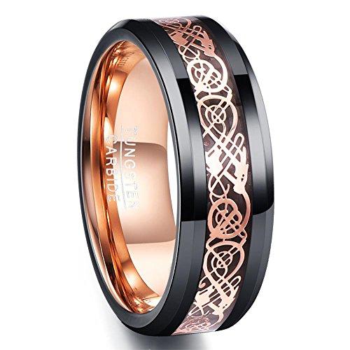 Ring Herren schwarz 8mm breit Wolframcarbid, Gravur mit Keltendrachen, poliertes Comfort-Fit Design, Ring für Freundschaft, Partnerschaft, Größe 59