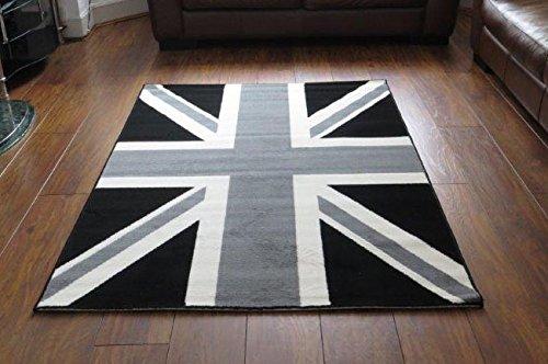Braun Union Jack (Aspekt 120x 170cm Polypropylen Union Jack Nostalgische Passion Moderner Teppich mit GB Flagge, schwarz/weiß)