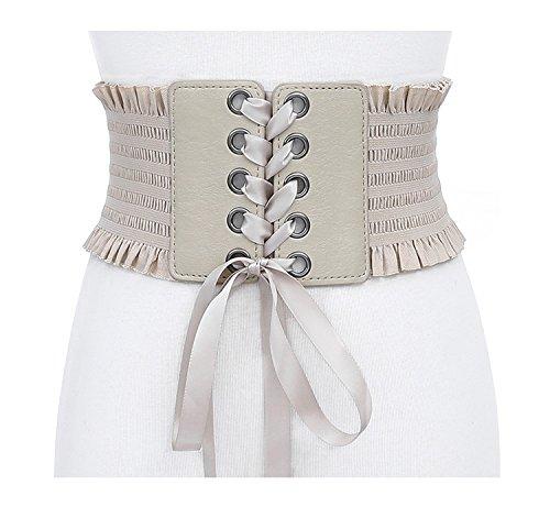 Swallowuk Damen Retro Breit Gürtel Elastische Taillengürtel Verstellbare Mode Gürtel (Khaki) (Verstellbare Taille-khaki)