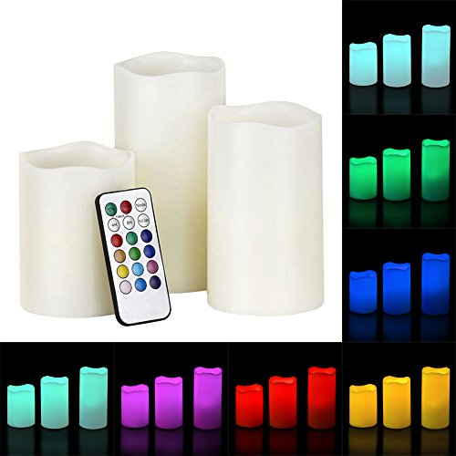 Vela LED luces, 12colores cambiantes funciona con pilas de vela sin llama con 18teclas Control remoto y temporizador, juego de 3