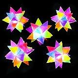 German Trendseller - 6 x Stern - Bälle LED  NEU  6 cm  Rainbow Leucht - Bälle  Leuchtflummi  Stachelball  Kindergeburtstag  6 Stück