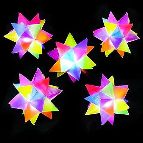 German Trendseller® - 6 x Stern - Bälle LED ┃ NEU ┃ 6 cm ┃ Rainbow Leucht - Bälle ┃ Leuchtflummi ┃ Stachelball ┃ Kindergeburtstag ┃ 6 Stück