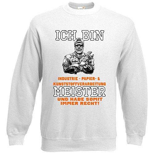 getshirts - RAHMENLOS® Geschenke - Sweatshirt - Ich bin Industrie - Papier & Kunststoffverarbeitung Meister - weiss L