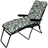 Garden Patio Sun Lounger Multi Position Chair + Footrest Ashley Green Cushion
