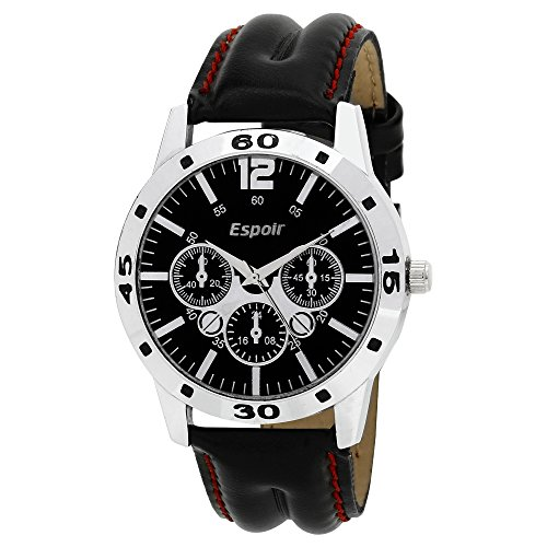 Espoir Chronograph Pattern Black Dial Men\'s Watch - Aveo0507