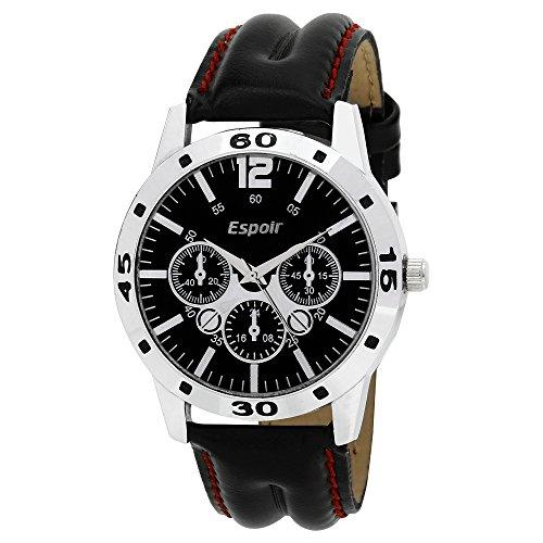 Espoir Chronograph Pattern Black Dial Men\'s Watch - Aveo0507