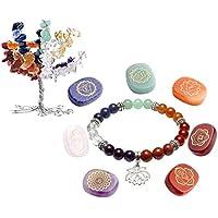 JOVIVI 7 Chakras Baum des Lebens Dekoration+Energietherapie Yoga Armband Lotus+Edelstein Gravur Stein Dekoration preisvergleich bei billige-tabletten.eu