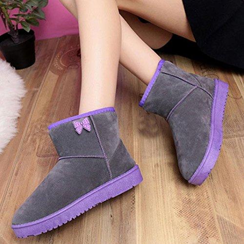 Stiefel Damen Clode® Damen Schuhe Bow Stiefeletten Winter Fur Boots Winterstiefel Warm Casual Flats Boots Grau