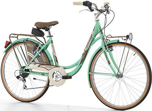 """Cicli Cinzia Bicicletta 26"""" Citybike Decoville Donna 6/V Revo Shift V-Brake Alu. Fanali a Pila Verde Menta"""