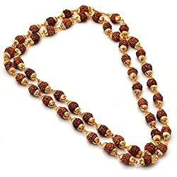 Jewar Mandi Rudraksh Mala Shiva God Gold Plated Rudraksh Mala Chain Long 24 Inches 6805 For Unisex