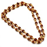 #4: Jewar Mandi RUDRAKSH MALA Shiva God gold plated rudraksh mala chain long 24 inches 6805