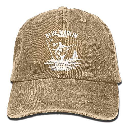 SOTTK Herren Damen Baseball Caps,Hüte, Mützen, Funny Blue Marlin Fishing Logo Unisex Baseball Hat Cowboy Cap Sun Hats Trucker Hats -