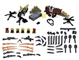 Brique Magma: lot des armes, boîte des arme, fil de fer barbelé, moto, cheval, baril de pétrole des solats anglais de la seconde guerre mondiale pour personnaliser des figurines LEGO