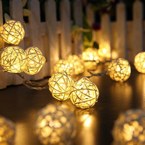 Dailyart 13,8ft / 4.2m lange Rattan-Kugel-Schnur-Licht Sternenlicht für Gärten, Häuser, Hochzeit, Weihnachtsfeier, Batteriebetriebene (Warmweiß)