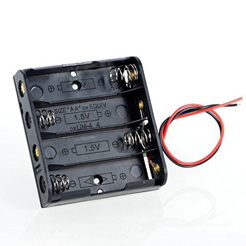 Neuftech Batteriehalter für 4x 1,5V AA Batterie Halterung 6V mit Anschlusskabel
