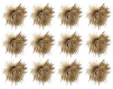 Kunstfuchsfell flauschige Bommel mit elastischer Kordel für Hüte, Mützen, Schuhe, Schals, Taschen, Charms, Accessoires, DIY 12 Stück E-brown